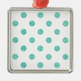 Elegant Teal Glitter Polka Dots Pattern Silver-Colored Square Ornament