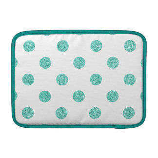 Elegant Teal Glitter Polka Dots Pattern Sleeves For MacBook Air