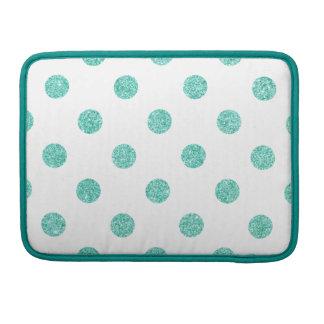 Elegant Teal Glitter Polka Dots Pattern Sleeves For MacBook Pro