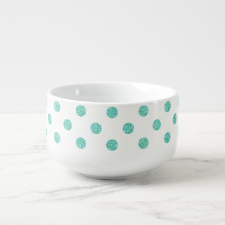 Elegant Teal Glitter Polka Dots Pattern Soup Mug