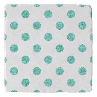 Elegant Teal Glitter Polka Dots Pattern Trivet