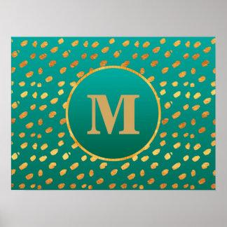 Elegant Teal Gold Confetti Monogram Poster