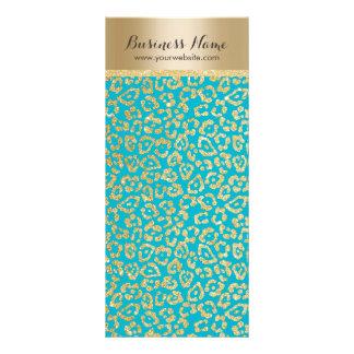 Elegant Teal & Gold Leopard Print Full Color Rack Card