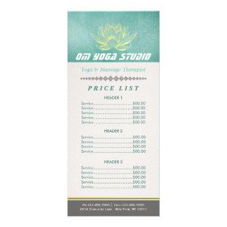 Elegant Teal Gold Lotus YOGA Instructor Price List Rack Card
