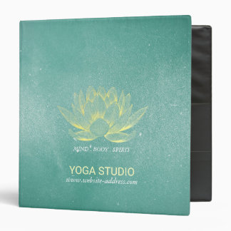 Elegant Teal Gold Lotus Yoga Mediation instructor 3 Ring Binders