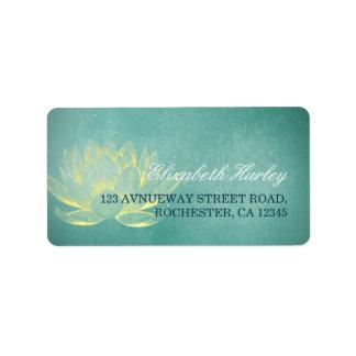 Elegant Teal Gold Lotus Yoga Mediation Instructor Label