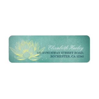 Elegant Teal Gold Lotus Yoga Mediation Instructor Return Address Label