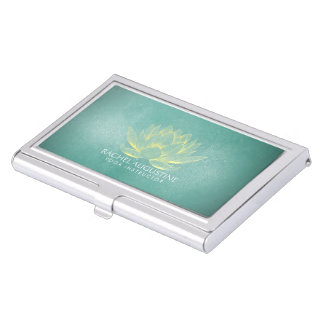 Elegant Teal Gold Lotus Yoga Meditation Instructor Business Card Holder