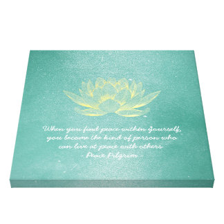 Elegant Teal Gold Lotus YOGA Meditation Instructor Canvas Print