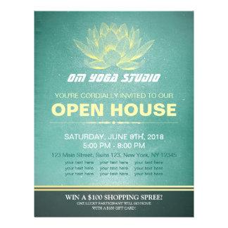 Elegant Teal & Gold Lotus YOGA Studio Open House Flyer