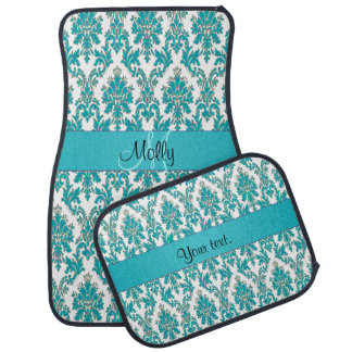 Elegant Teal Green Damask Print Car Mat
