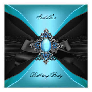 Elegant Teal Jewel Lace Bow Birthday Party Custom Invitations