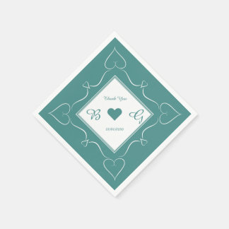 Elegant Teal Monogram Wedding Heart Napkins Paper Napkins