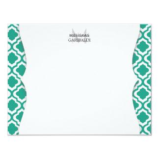 Elegant Teal Moroccan Quatrefoil Personalized Card