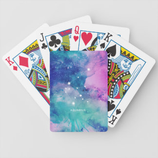 Elegant Teal Pink Blue Nebula Aquarius Bicycle Playing Cards