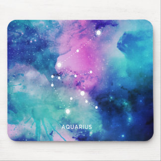 Elegant Teal Pink Blue Nebula Aquarius Mouse Pad