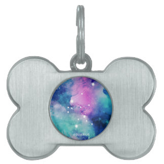 Elegant Teal Pink Blue Nebula Aquarius Pet Tags