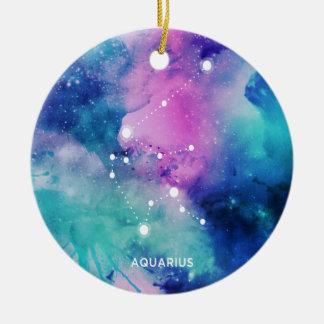 Elegant Teal Pink Blue Nebula Aquarius Round Ceramic Ornament