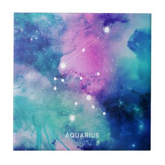 Elegant Teal Pink Blue Nebula Aquarius Tile