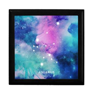 Elegant Teal Pink Blue Nebula Aquarius Trinket Box