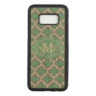 Elegant Teal Quatrefoil Pattern Custom Monogram Carved Samsung Galaxy S8 Case