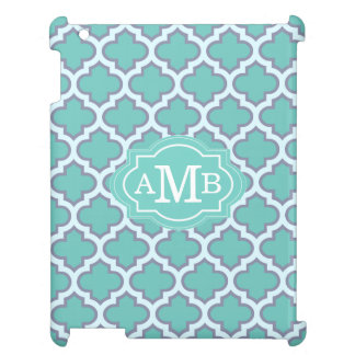 Elegant Teal Quatrefoil Pattern Custom Monogram iPad Case