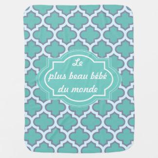 Elegant Teal Quatrefoil Pattern Cute French Quote Stroller Blanket