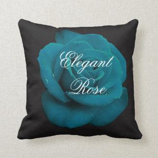 Elegant Teal Rose Throw Pillow