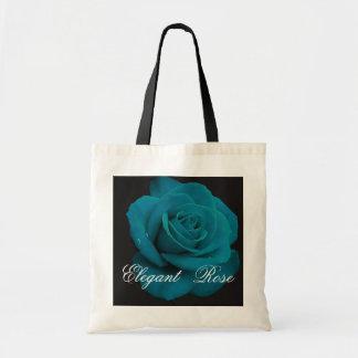 Elegant Teal Rose Tote