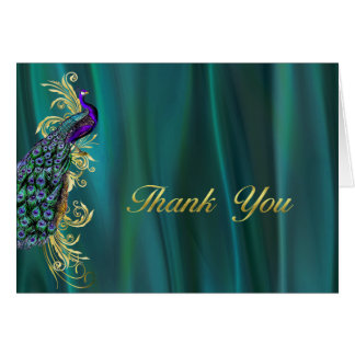 Elegant Teal Satin and Peacock Wedding Thank You Card