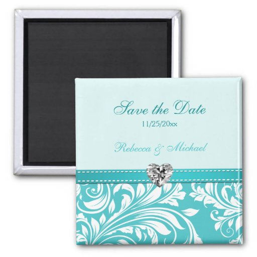 Elegant Teal Save the Date Monogram Magnets