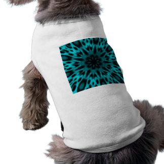 Elegant Teal Spotted Leopard Kaleidoscope Doggie Tee Shirt