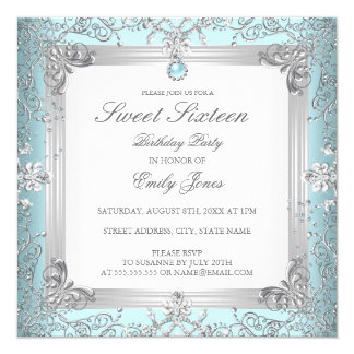 Elegant Teal Sweet 16 Sixteen Pearl Invitation