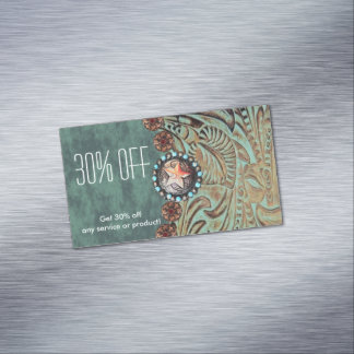 elegant teal tooled leather promotional 	Magnetic business card