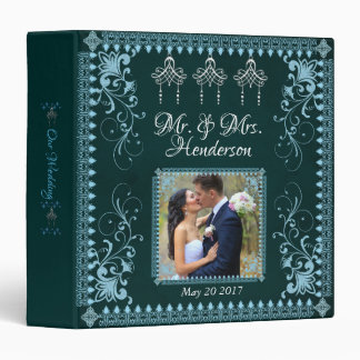 Elegant Teal Victorian Wedding Photo Binder Album