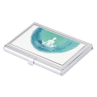 Elegant Teal Watercolor Yoga Meditation Instructor Business Card Holder