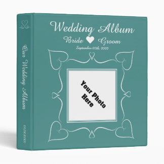 Elegant Teal Wedding Heart Album 3 Ring Binder