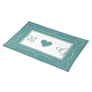 Elegant Teal Wedding Heart Monogram Placemat