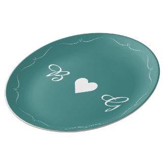 Elegant Teal Wedding Heart Monogram Plate Porcelain Plates