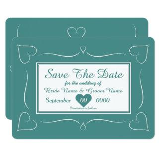 Elegant Teal Wedding Heart Monogram Save The Date Card