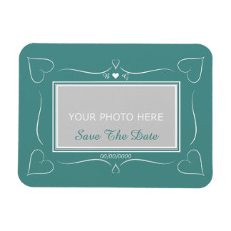 Elegant Teal Wedding Heart Monogram Save The Date Magnet