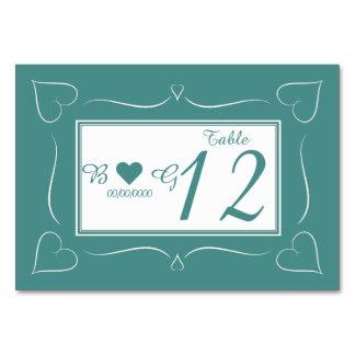 Elegant Teal Wedding Heart Monogram Table Card