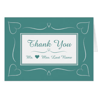 Elegant Teal Wedding Heart Thank You Card