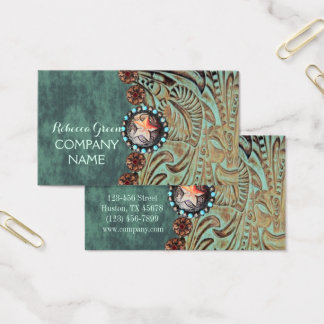 elegant teal western country tooled leather business card