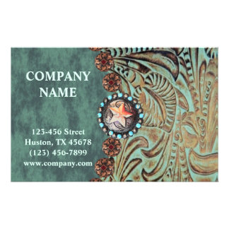 elegant teal western country tooled leather flyer