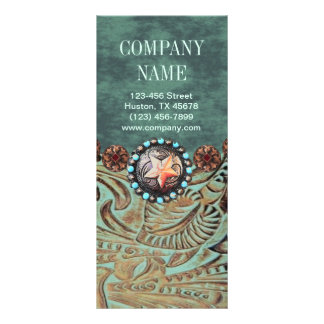 elegant teal western country tooled leather rack card