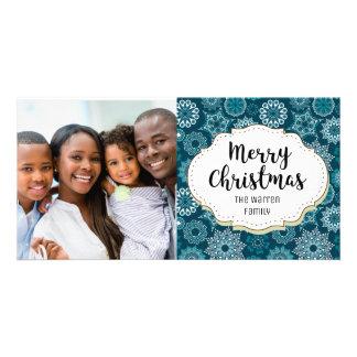 Elegant Teal White Snowflakes Christmas Photo Card