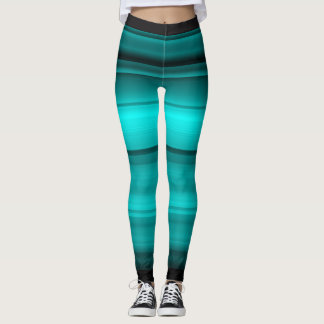 Elegant teal with black shades / stripes leggings