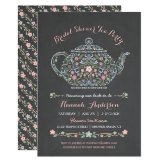 Elegant Teapot Bridal Shower Chalkboard Invitation