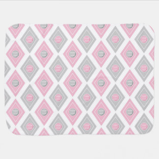 Elegant Tennis Ball Diamond Pattern Pink and Grey Baby Blanket